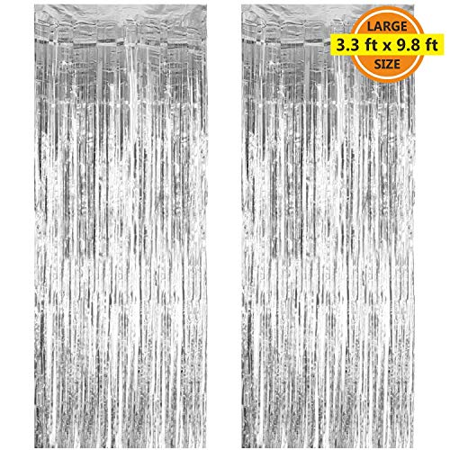 2 Pack 3.3 ft x 9.8 ft Foil Curtains Metallic Fringe Curtains Shimmer Curtain Photo Backdrop for Halloween Christmas Birthday Party Wedding Decor (Silver) -
