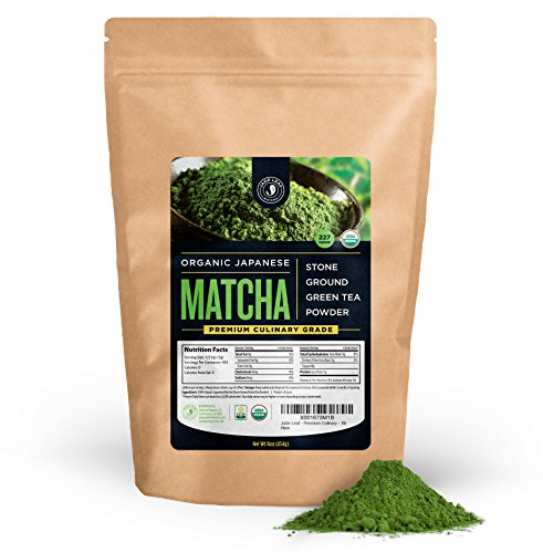 Glass Organic Leaf (Jade Leaf - Organic Japanese Matcha Green Tea Powder, Premium Culinary Grade (Preferred By Chefs and Cafes for Blending & Baking) - [1lb Bulk)