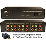 2 in x 4 out Composite RCA S-Video, Audio Distribution Amplifier Amp Splitter Matrix Distributor