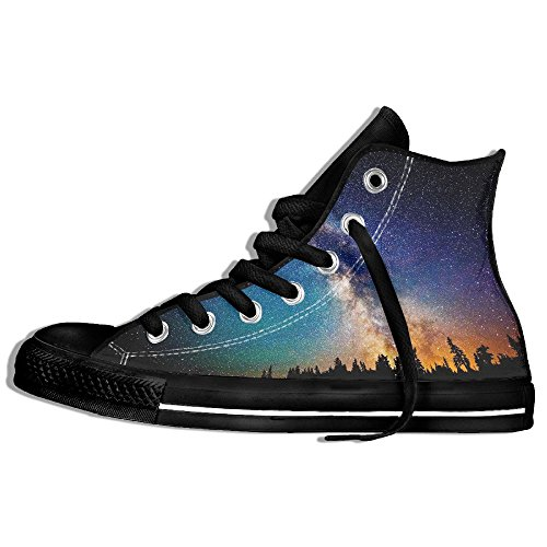 Classic High Top Sneakers Canvas Zapatos Antideslizante The Galaxy Casual Walking Para Hombres Mujeres Negro