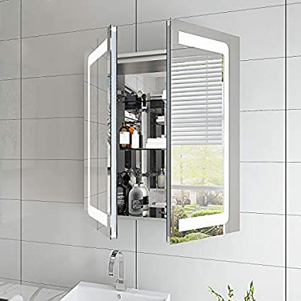 Elegant 500x700mm Illuminated Led Mirror Cabinet Stainless Steel Wall Storage Vertical Rectangle Bathroom Mirror Lights Sensor