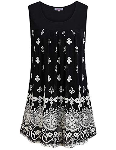 - Summer Tank Tops for Women,Sleeveless Crew Neck Chic Office Work Blouse Vacation Club Wear Cool Shirts Mom Career Boho Floral Print Tunics Flowing Dressy Outfits Loose Fit Clothes White Flower XL
