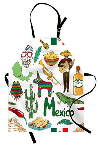 Lunarable Mexican Apron, Fun Colorful Sketch Artful Mexico Chili Pyramid Nachos Cactus Music Poncho Pattern, Unisex Kitchen Bib Apron with Adjustable Neck for Cooking Baking Gardening, -