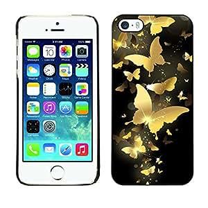 Be Good Phone Accessory // Dura Cáscara cubierta Protectora Caso Carcasa Funda de Protección para Apple Iphone 5 / 5S // Gold Butterfly Bling Black Paint Money