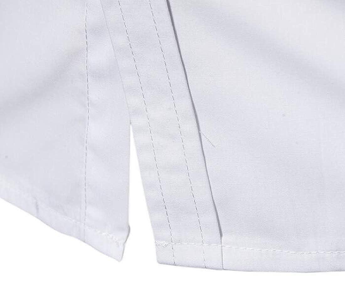 Domple Men Contrast Loose Short Sleeve Button Down Summer Dress Shirt Top