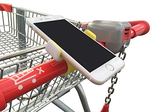Shopping Cart Cell Phone Holder with Secure Clip - Suits All Phones - Grey Color