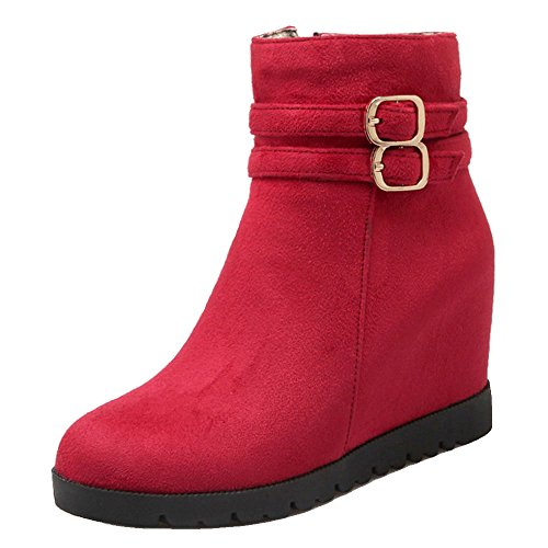 COOLCEPT Damen Stiefel Hidden Heel Zipper Red