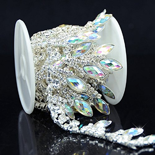 De.De. 1 Yard AB Resin Crystal Applique Rhinestone Bridal Trim Fashion Chain Fringe Embellishment ()