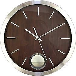 Ashton Sutton CX1451 Round QA Metal Pendulum Wall Clock, 14-Inch