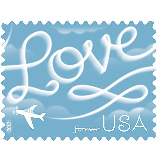 Love Skywriting USPS Forever First Class Postage Stamp U.S. Celebrate Love New Issue Valentine's Day Sheets (Sheet of 20 Stamps) (5 - Class International Usps First Rates