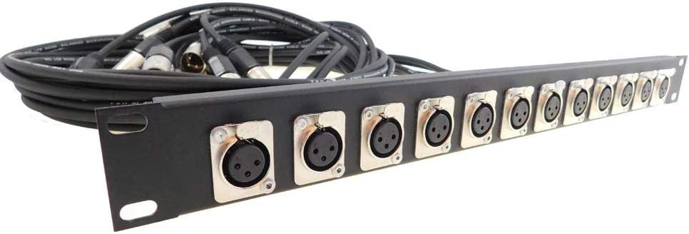 1U Procraft 12 XLR Rack Panel Any Configuration W//4 Pigtails TSP1U-12UNI-4-BK
