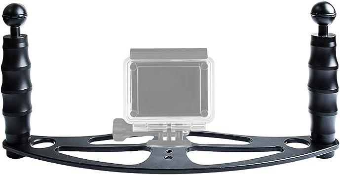 Vassoio in alluminio a doppia maniglia stabilizzatore per Custodie Subacquee Fotocamera-Nero