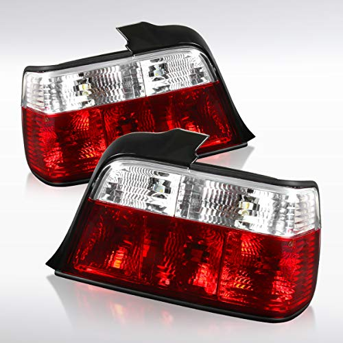 Autozensation For BMW E36 3-Series 4Dr Red/Clear Tail Lights Rear Brake Lamps Left+Right