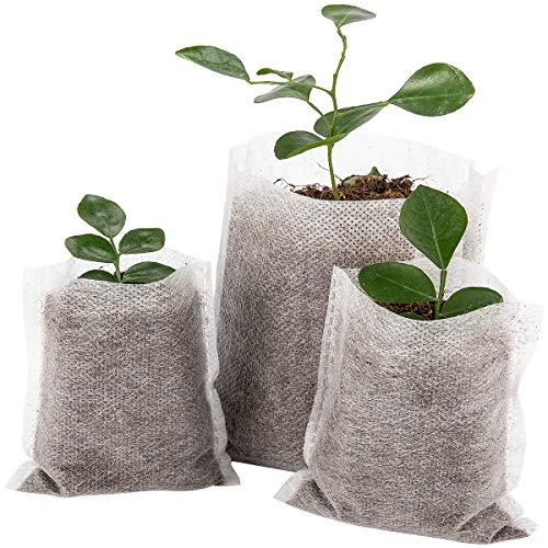 Cosweet 500 pcs Assorted Sizes Seedling Plant Grow Bags, Biodegradable Non-Woven Nursery Fabric Seeding Starting Fiber Soil Transplant Pouches, Home Garden ()