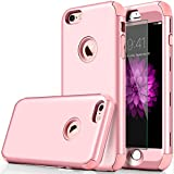 "iphone 6 Case, DUDETOP 3-in-1 Shockproof Scratch-Resistant Resist Cracking Armor Protective Cover Easy Grip Design with Tempered Glass Screen Protector for Apple iphone 6s 4.7"" Inch ( Rose Gold )"