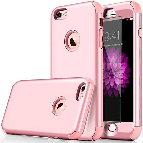 iPhone 7 Case, DUDETOP 3-in-1 Shockproof Scratch-Resistant Resist Cracking Armor Protective Cover Easy Grip Design with Tempered Glass Screen Protector for Apple iPhone 7 4.7 Inch (Rose Gold)