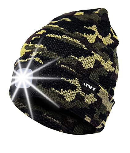 ATNKE LED Lighted Beanie Cap, USB Rechargeable Running Hat Ultra Bright 4 LED Waterproof Light Lamp and Flashing Alarm…