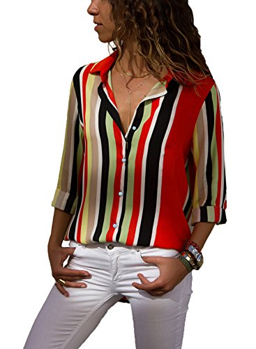 FIYOTE Women Summer Long Sleeve Collared Button Down Striped Shirt Tops