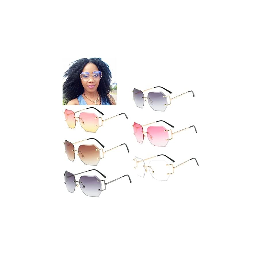 SCASTOE Retro Gradient Women's Rimless Sunglasses Metal Oversized Designer Clear Lens Rimless Glasses Transparent