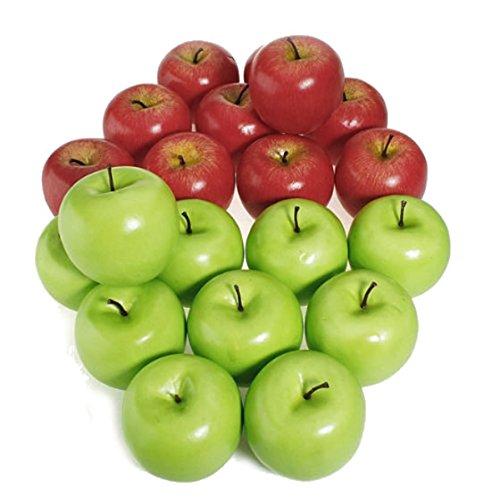 SODIAL 12pcs Decorative Large Artificial Red Apple Plastic Fruits Home Party Decor