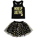 Toddler Kids Baby Girls Outfits Birthday Princess Top Sleeveless T-Shirt +Dot Bubble Skirt Summer Clothes Set (Black, 18 Months)