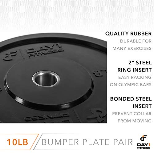 """Day 1 Fitness Olympic Bumper Weighted Plate 2"""" for Barbells, Bars – 10 lb Set of 2 Plates - Shock-Absorbing, Minimal Bounce Steel Weights with Bumpers for Lifting, Strength Training, and Working Out by Day 1 Fitness (Image #4)"""