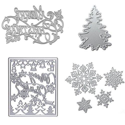 Dies Cuts Christamas Tree Snowflake for Card Making DIY Scrapbooking Photo Album Tree Xmas Words Metal Stencils Decorative Embossing DIY Paper Cards Gift (Set 10) (CDS11) (Edge Chipboard Album)