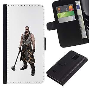 iKiki Tech / Cartera Funda Carcasa - Hammer Warrior Man Muscles Masculine Art - Samsung Galaxy Note 4 SM-N910