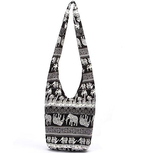 MIANZI Women Hand Fashion canvas Crossbody Bags Cotton Bohemian Animal Prints Hobo Bags (Black)