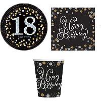 ILS I LOVE SHOPPING Juego de mesa para fiestas de cumpleaños con 8 platos de 23 cm, 8 vasos y 20 servilletas (18 años de…
