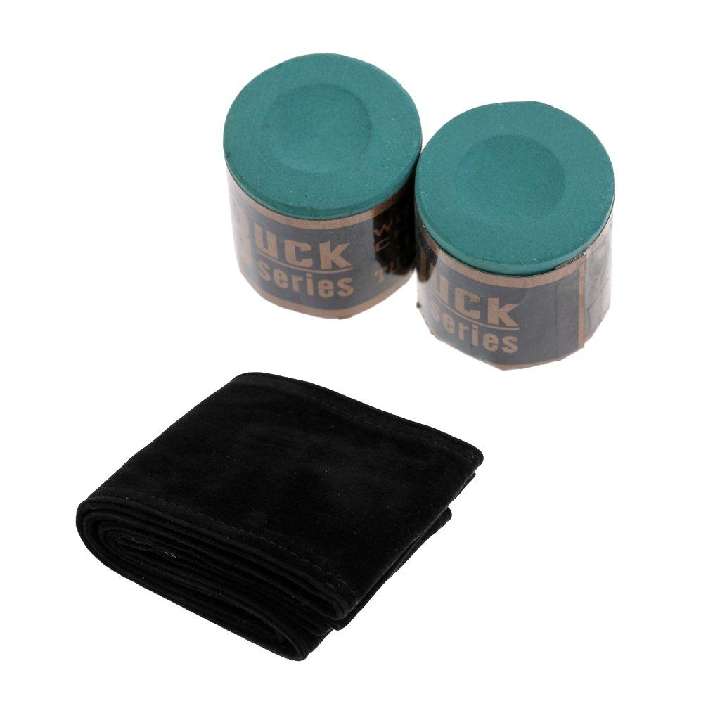 Fenteer 2 Blocks Billiard Chalk + Soft Stick Cue Case Storage Bag for 3/4 snooker Pool Cue