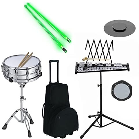 Band Directors Choice Complete Student Snare Drum Kit/Bell Kit Pack w/Stand, Wheeled Double Carry Bag, Drum Practice Pads & Green Light Up Drumsticks