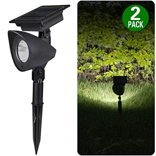 2 Pack Upgraded Outdoor Solar Landscape SpotLights - Waterproof Adjustable Yard Solar Lights for Outdoor Garden Pathway Driveway Lawn Walkway Lighting Illumination, Auto on/Off Bright White