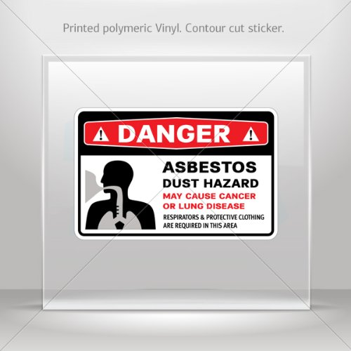 Asbestos Hazard - Decals Stickers Danger Asbestos Dust Hazard. May Cause Cancer Or Lung (5 X 3.26 Inches)