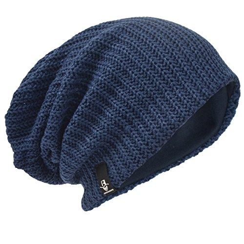 HISSHE Men Oversize Skull Slouch Beanie Large Skullcap Knit Hat (Ribbed-Navy)