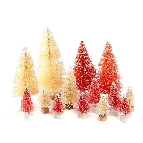 Factory Direct Craft Assorted Size Frosted Cream and Red Bottle Brush Trees with Wood Base - 12 Trees
