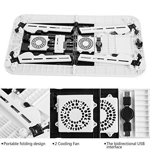 Folding Lap Desk Adjustable Laptop Table for Home, Bed with 2 Cooling Fans, Mouse Pad, Drink Holder and Pen Holder by rampmu (Image #3)