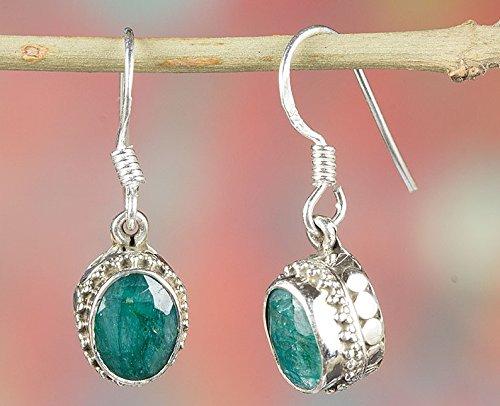 Emerald Earrings, 925 Sterling Silver, Unique Earrings, Green Color Earrings, Drop Dangle Earrings, Designer Earrings, 20th Anniversary Earrings, Bezel Earrings Extraordinary Earrings, Awesome Earring (Best Quality Emerald Price)