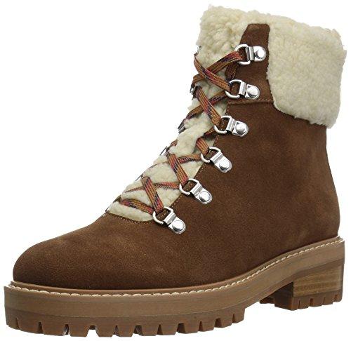 (Amazon Brand - The Fix Women's Mika Hiker Boot with Faux Shearling Trim, Bourbon, 10 B US)