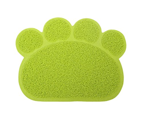 Dinner Claw - Paw Claw Mat,Lillypet PVC Pet Dish Dinner Water Bowl Cat Litter Mat 11.8x15.8 inch for Dog Kitten Puppy Green