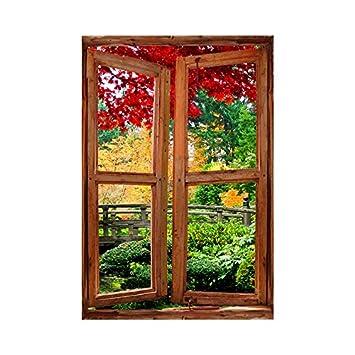 Stickers Trompe Loeil Fenêtre Le Jardin Exotique L 80cm X H 120cm
