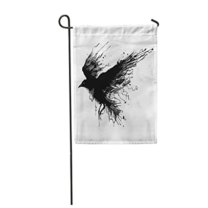 """04d4c8b01748f Semtomn 12""""x 18"""" Garden Flag Tattoo Detailed Crows in Ink on  Wings Raven"""