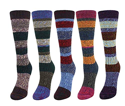 Blend Boot Sock (Santwo Colorful Stripe Warm Wool Blend Knited Hold-up Boot Crew Socks Leg Warmer 1-5 Pairs Size - US 6.5-10.5 (model 2))