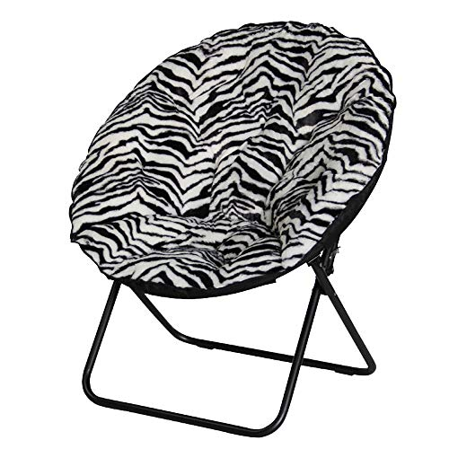 Camping Chairs Zebra Pattern Outdoor Camping Leisure Portable Folding Chair Lazy Chair College Dormitory Chair Sofa Chair Balcony Back Moon Chair Cotton pad (5 Colors) Folding Chair (Chair Folding Zebra)