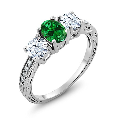 Gem Stone King 925 Sterling Silver Green Simulated Emerald Women's Ring (2.22 Ct Oval Available 5,6,7,8,9) (Size 9) ()