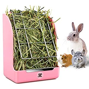 Hay Feeder, Hay Rack, Reduce Timothy Alfalfa Oat Hay Waste, Suitable for Rabbit Guinea Pig Chinchilla Hamster Accessories, Bowl That are Easily Connected to The Cage(5.5X3.5X7inch) 12