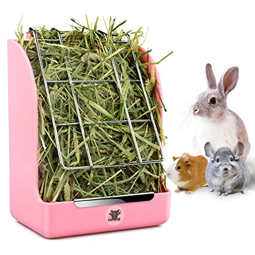 (Hay Feeder, Hay Rack, Reduce Timothy Alfalfa Oat Hay Waste, Suitable for Rabbit Guinea Pig Chinchilla Hamster Accessories, Bowl That are Easily Connected to The Cage(5.5X3.5X7inch))