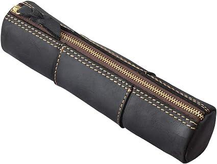 Fyore Estuche de lujo para lápices, de piel auténtica, vintage, redondo, para la escuela, adultos y adolescentes, color negro 20.5*5.2*5.2cm: Amazon.es: Oficina y papelería