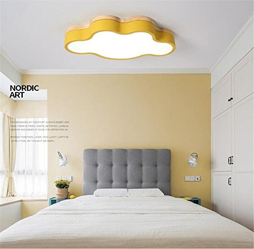 LUCKY CLOVER-ACeiling Light Wood Art Dimming Intelligent Remote Control Pendant Lamp LED Cloud Shape Lampshade Lamp Chandelier Nature Light Children Room [Energy Class A++] , lemon yellow
