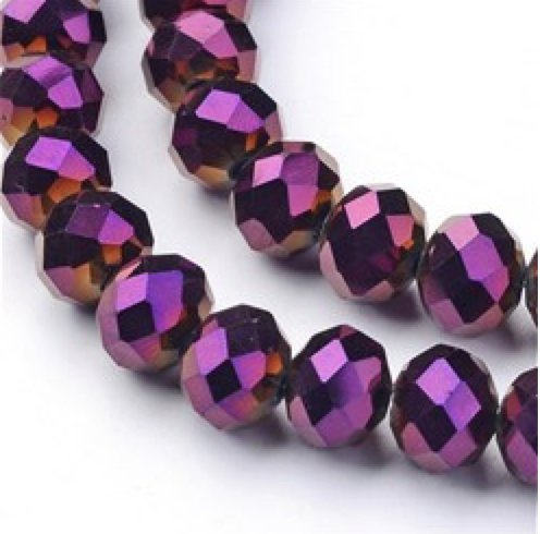 AMZ BEADS - Metallic 8mm x 6mm Faceted Glass Beads - 72pcs Strand (Metallic (Rosary 6mm Glass Bead)